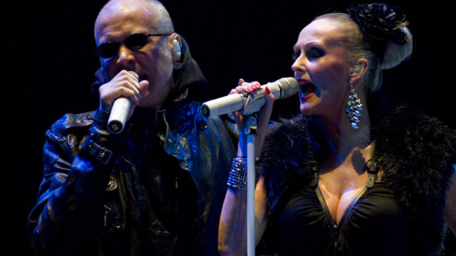 BARCELONA, SPAIN - JUNE 17:   Philip Oakey (L) and Susan Ann Sulley of The Human League perform on stage during the second day of the Sonar 2011 Festival on June 17, 2011 in Barcelona, Spain.  (Photo by David Ramos/Getty Images)