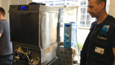 The Krupps warewasher with osmosis system installed in Calverley's Brewery.