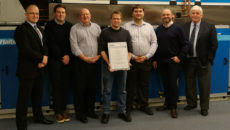 Steve Mason and the team behind the Eurovent accreditation. L-r: Rhys Dear, Ian Horton, Joe Jones (with certificate), Richard Lewis, Craig Gould and Phil Gibson.
