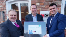 Presenting the award to Peter Farrell, sales director at C&C Catering Equipment are Meiko's regional sales director Peter Nimmo (left) and regional sales manager Craig Barnett (right).