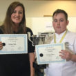 Continental Chef Supplies' Sophie Hardy presents NECTA Future Chef winner Calum Bell with his certificate.