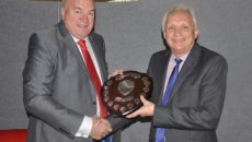 Cedabond's Phil Martin (left) presented GS Group MD Graham Massey with the Bob McNab Award.