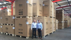 Atosa UK national sales manager Lee Donkin (left) and global MD Alan Cheng in the company's vast Northampton warehousing facility.