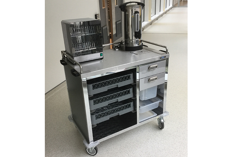 The breakfast foodservice trolley Moffat and Stephens provided for Ulster Hospital.