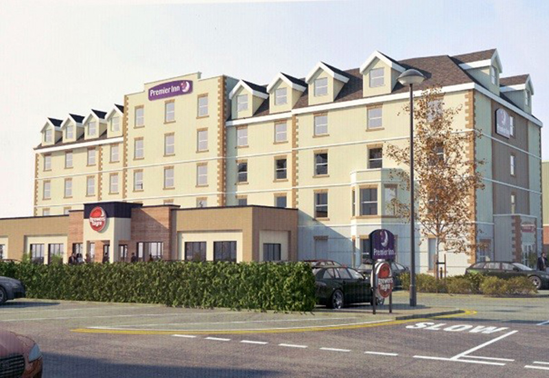 A computer-generated image of the new Premier Inn at Bridlington.