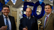 The Stephensons team celebrates 50 years in Stockport by updating its showroom. L-r: Julian Lewis-Booth, Michael Stephenson and Henry Stephenson.