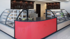 Calabria patisserie counters and Corsica counters with preto impala granite worktops in two colour basic RAL decoration.