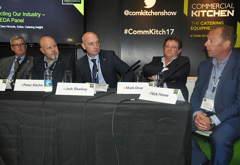 L-r: ScoMac's Iain Munro, C&C's Peter Kitchin; Vision's Jack Sharkey; Caterware's Mark Drazen and Court's Nick Howe debated the state of the industry.