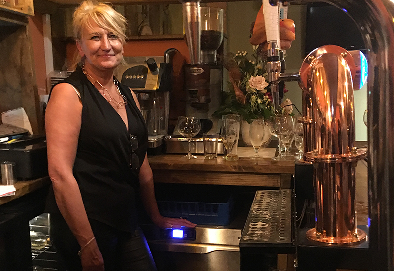 The Shed Café and Bar's owner Jacqueline Davies with the new Krupps K540E glasswasher.