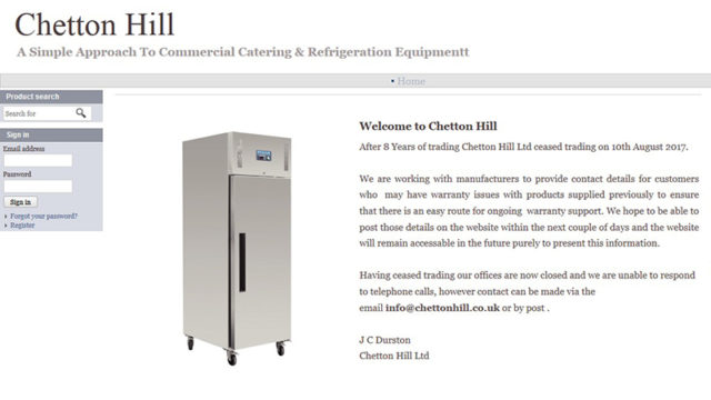 The front page of Chetton Hill's website currently advises customers on ongoing warranty support.