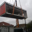 PKL had to crane the 'Big Red Kitchen' into Coningsby St Michaels Primary School.