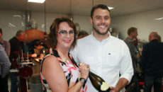 LLK MD Linda Lewis with KCCJ's Jack Sweet who won a trip to Italy.