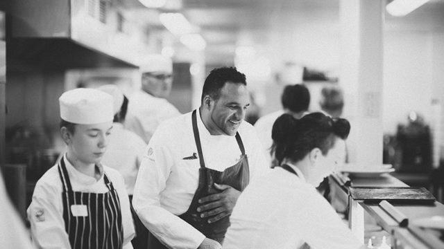 Michael Caines in the Lympstone Manor kitchen that Salix designed. Credit: Mark Ashbee Photography.