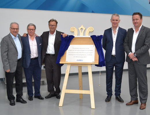 Classeq and Winterhalter management officially open Classeq's new factory in Stafford.