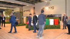 Smeg's Host stand showcased its FAB5 silent 'minibar' fridges in Italian flag colour.