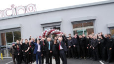 West Midlands Mayor, Andrew Street (first left, front row), marks the opening of the new showroom with Fracino family members and the Fracino team.