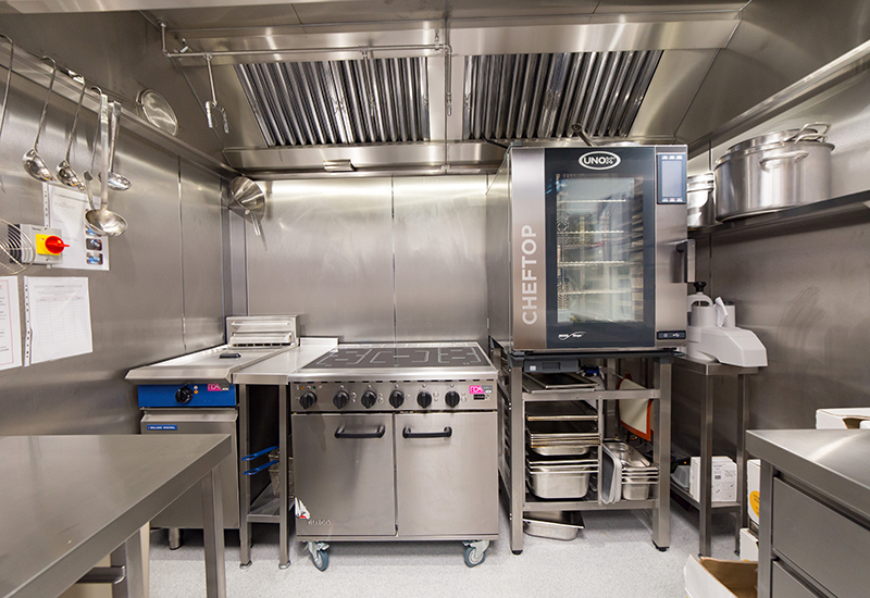 The RDA-designed and outfitted kitchen for Technip FMC Umbilicals.