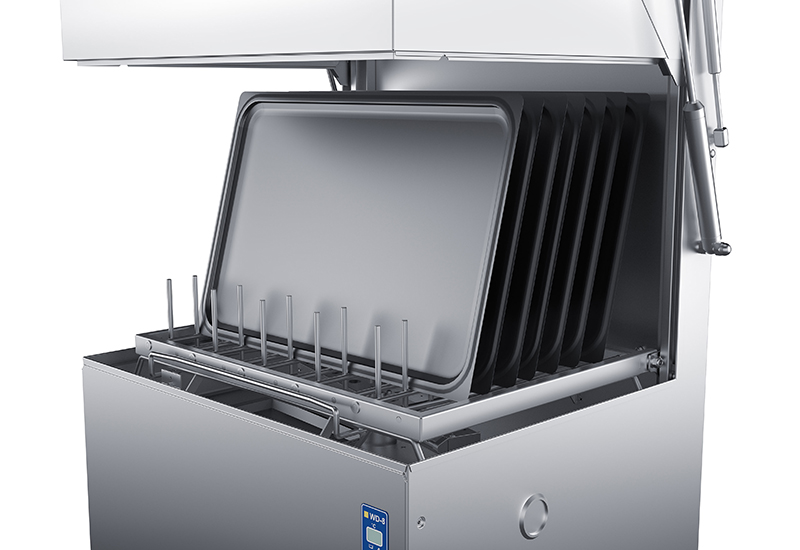 The Wexiodisk WD-8 hood type machine can wash larger cooking utensils such as bakery trays.